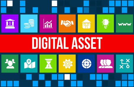 asset: Digital asset concept image with business icons and copyspace.