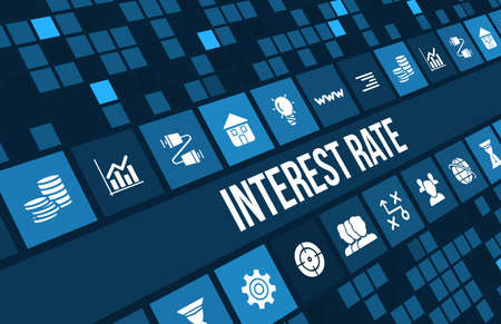 Interest rate concept image with business icons and copyspace. Standard-Bild