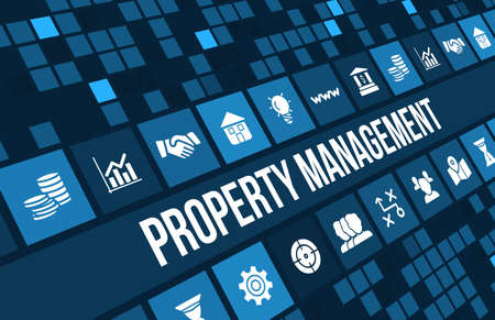 press agent: Property Management concept image with business icons and copyspace. Stock Photo