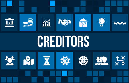 creditors: Creditors concept image with business icons and copyspace. Stock Photo
