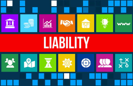property management: liability concept image with business icons and copyspace. Stock Photo