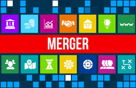 company merger: Merger  concept image with business icons and copyspace.
