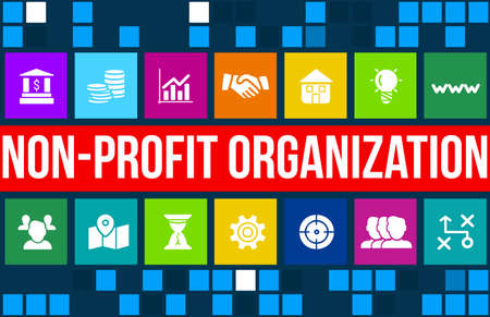 charitable: Non-profit organization  concept image with business icons and copyspace.