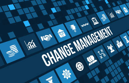 strategy decisions: Change management concept image with business icons and copyspace.