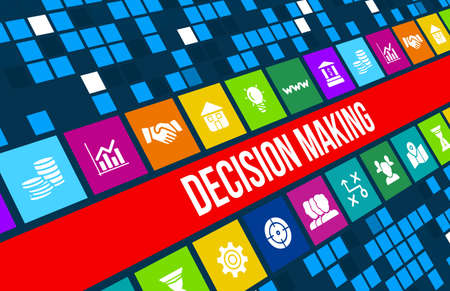 decision  making: Decision making concept image with business icons and copyspace.