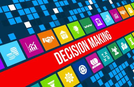 toma de decision: Toma de decisiones imagen del concepto con los iconos de negocios y copyspace.