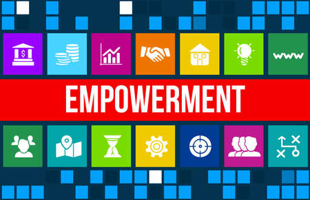 empowerment: empowerment concept image with business icons and copyspace. Stock Photo