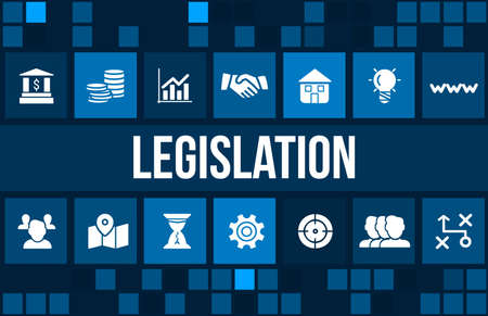 legislation: legislation concept image with business icons and copyspace.
