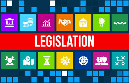 rightfulness: legislation concept image with business icons and copyspace.