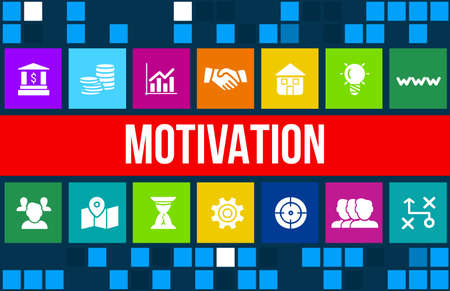 motivation: Motivation concept image with business icons and copyspace.