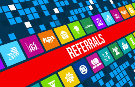 referral marketing: Referrals concept image with business icons and copyspace. Stock Photo
