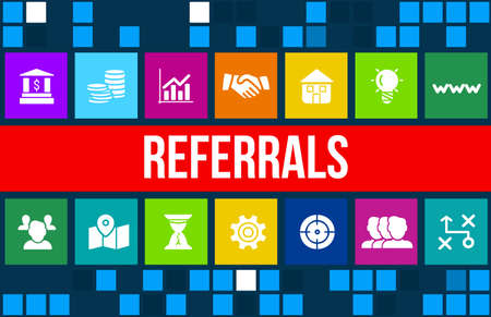 buzz: Referrals concept image with business icons and copyspace. Stock Photo