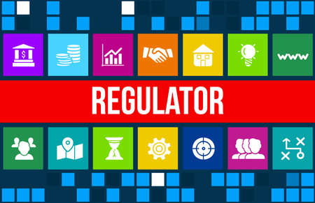 Regulator concept image with business icons and copyspace.