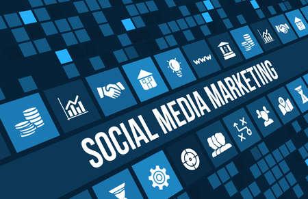 medios de comunicación social: Imagen Concepto social media marketing con iconos de negocios y copyspace.