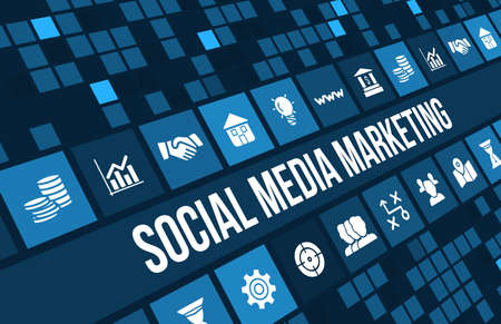 advertise: Social media marketing concept image with business icons and copyspace.