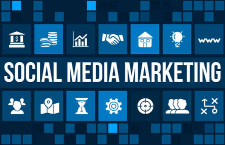 Social media marketing concept image with business icons and copyspace.