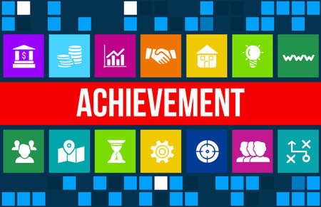 achiever: Achievement concept image with business icons and copyspace.