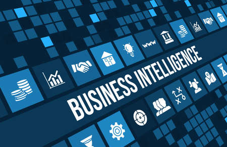 business software: Business intelligence concept image with business icons and copyspace.