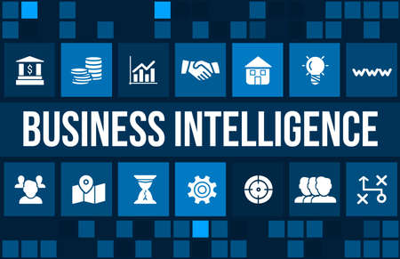 Business intelligence concept image with business icons and copyspace.