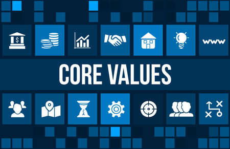 Core values concept image with business icons and copyspace.