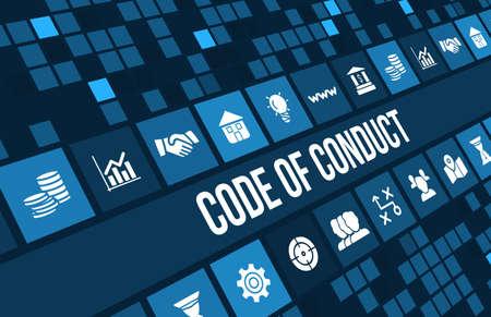 valores morales: Código imagen del concepto de conducta con iconos de negocios y copyspace. Foto de archivo