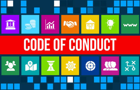 conduct: Code of conduct concept image with business icons and copyspace.