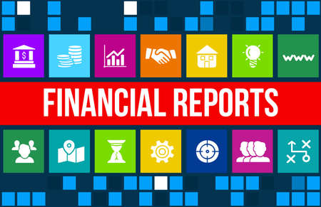Financial report concept image with business icons and copyspace. Archivio Fotografico