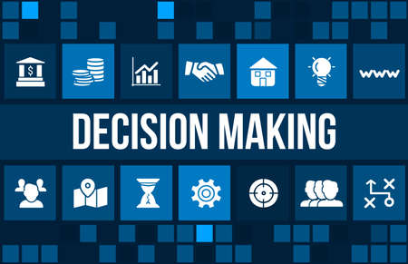 Decision making concept image with business icons and copyspace.