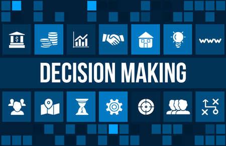 toma de decisiones: Toma de decisiones imagen del concepto con los iconos de negocios y copyspace.