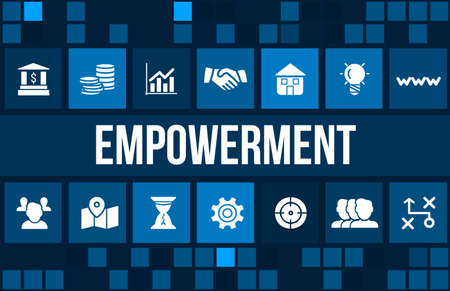 delegate: empowerment concept image with business icons and copyspace. Stock Photo