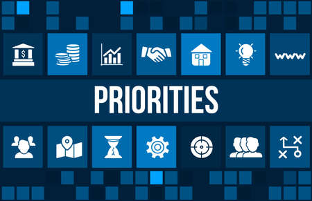 achievement concept: Priorities concept image with business icons and copyspace. Stock Photo