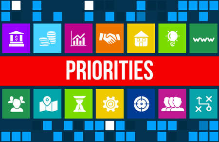 priorities: Priorities concept image with business icons and copyspace. Stock Photo