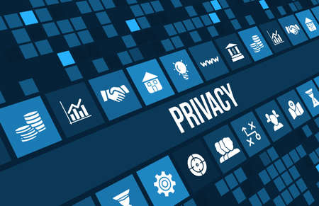 Privacy concept image with business icons and copyspace.