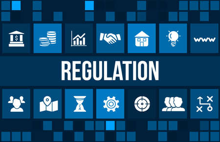 Regulation concept image with business icons and copyspace.