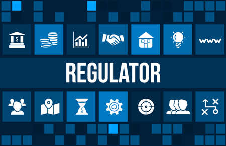 Regulator concept image with business icons and copyspace. Archivio Fotografico