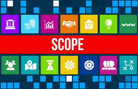 assessment system: Scope concept image with business icons and copyspace.