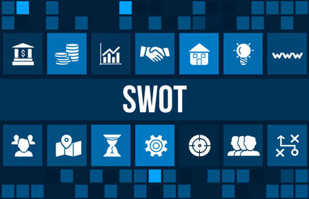 strategic advantage: Swot concept image with business icons and copyspace.