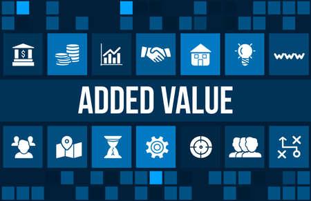 valor: Añadido imagen del concepto de valor con iconos de negocios y copyspace.