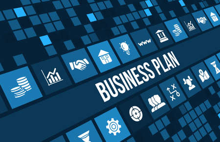 Business plan concept image with business icons and copyspace.