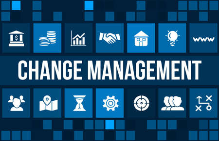 change direction: Change management concept image with business icons and copyspace.