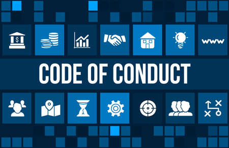 moral: Code of conduct concept image with business icons and copyspace.