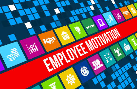 Employee motivation concept image with business icons and copyspace. Archivio Fotografico