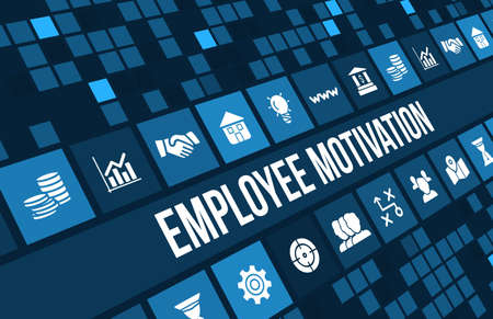 benefit: Employee motivation concept image with business icons and copyspace. Stock Photo