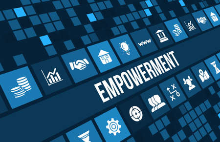 empowerment concept image with business icons and copyspace. Stok Fotoğraf