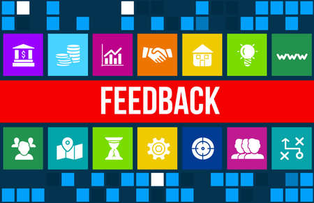 Feedback concept image with business icons and copyspace. Stock Photo