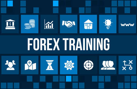 Forex training concept image with business icons and copyspace.