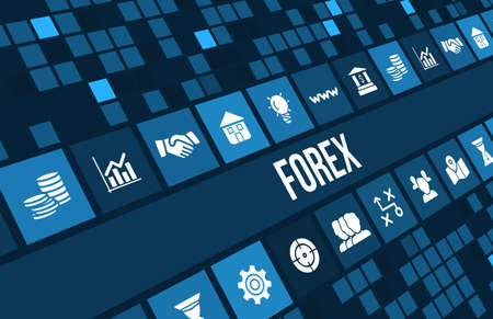Forex concept image with business icons and copyspace.