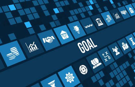 Goal concept image with business icons and copyspace.
