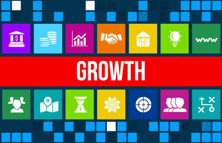 Growth concept image with business icons and copyspace.