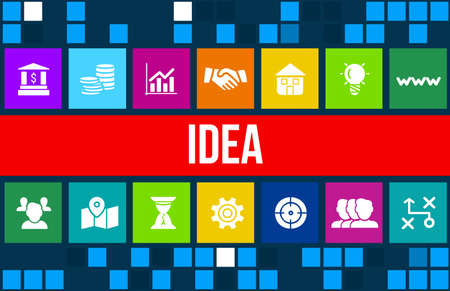 Idea concept image with business icons and copyspace. Stock Photo